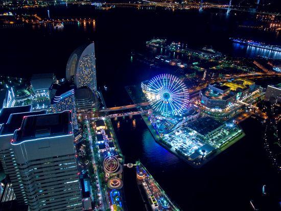Foto Pemandangan Malam Kota Yokohama di Jepang