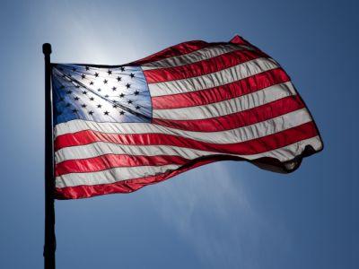 Gambar bendera Amerika Serikat berkibar